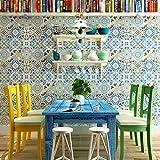 SDKKY Mosaico rústico mediterráneo oriental papel tapiz de pared de fondo TV sala comedor entrada flor papel tapiz no tejidas , 2 papel pintado