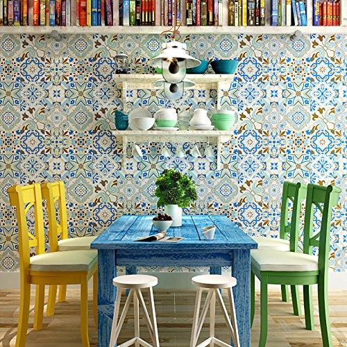 BBSLT Mediterraneo orientale piastrella rustico sfondo sfondo TV parete soggiorno sala da pranzo ingresso fiore non-tessuto di sfondo , 2