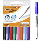 BIC Velleda 1741 marcadores de pizarra punta media para pizarra blanca – Caja de 8 unidades, colores surtidos, material ofici