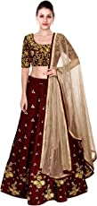 Shree Impex Women's Embroidered Taffeta Silk Semi stitched Lehenga choli with dupatta (Freesize)
