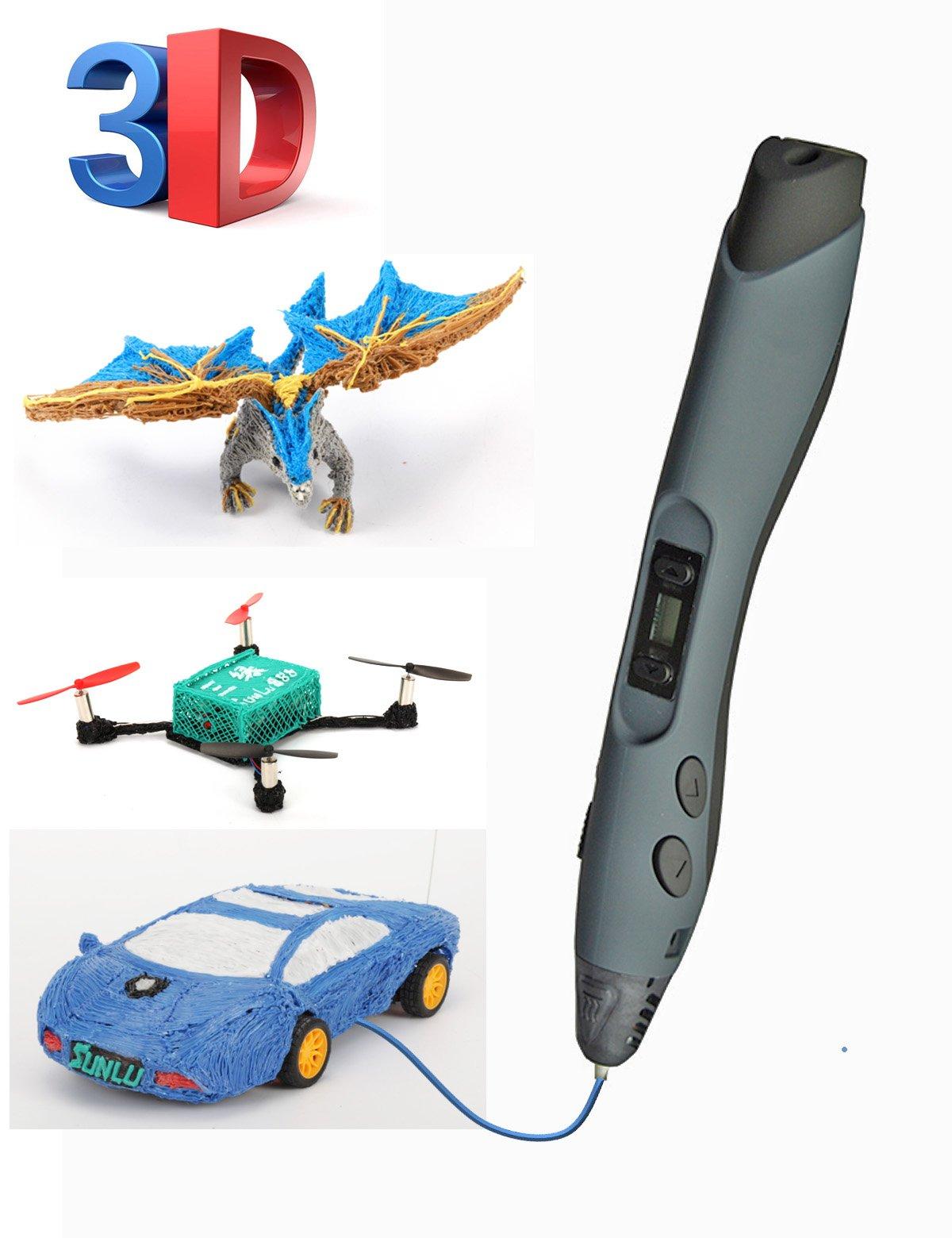 SUNLU Stylos d'Impression 3D Cadeau de Bricolage de Stylo d'impression 3D mis à Jour Compatible avec PLA ABS PCL avec l'affichage à LED de Filament DE 2 Rouleaux