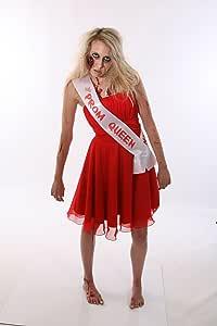 ZOMBIE PROM QUEEN SASH CHEAP HALLOWEEN FANCY DRESS COSTUME