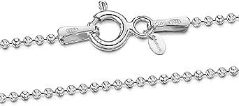 Amberta® Gioielli - Collanina - Catenina Argento Sterling 925 - Modello Sfere Diamantate - Larghezza 1.2 mm - Lunghezza: 40 45 50 55 60 70 80 90 cm