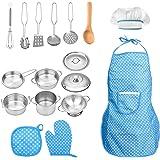 FUQUN 17 st låtsas leka kök köksredskap set matlagning leksak köksredskap lekset rostfritt stål kastruller och pannor bunt fö
