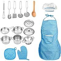 FUQUN 17 Pièces Cuisine pour Enfants Accessoires Ensemble De Jouets De Cuisson pour Enfants, Ensemble Complet De Cuisine…