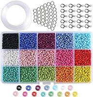 ETSAMOR Conjunto de Cuentas de Colores 3 mm Perlas de Vidrio Perlas de Potro Mini Cuentas para Hacer Joyas de Bricolaje...
