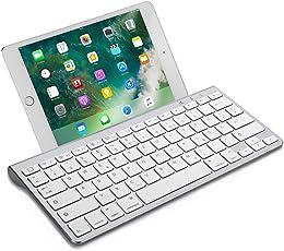 OMOTON Wireless Deutsche Bluetooth Tastatur / Keyboard (ultraschlanke) für Apple iPad Air, iPad Pro, iPad Mini,iPhone x,iPhone 8 / 7 /6s Plus, iPhone 8/7/6 /6s,und andere iOS Gerät,QWERTZ, mit Halterung
