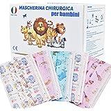 50 Pezzi MADE IN ITALY Mascherine Bambini Colorate protettiva colorata personale 3 strati CE tipo IIR, Nasello Regolabile, Pa