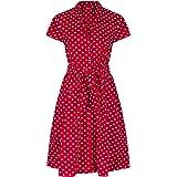 Para mujer 59131,2 cm s Retro de rojo diseño de lunares Belted A-de manga corta para hombre camiseta de manga corta e instruc
