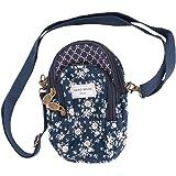YSXY Damen Mädchen Handy Umhängetasche Baumwolle Handytasche zum Umhängen Kartentasche Vielschichtige Geldbörse Kleiner Tasch