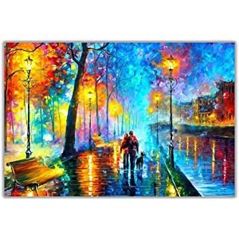 AT54378D Town From The Dream By Leonid Afremov on Poster Print Wall Art Pictures