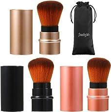 JewelryWe 3 Stück Einziehbarer Kabuki Pinsel mit besonders weichem Synthetik-Haar, für Make-Up Puder Produkte, retractable brush