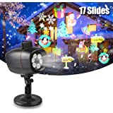 infinitoo Christmas Projector Lights, 17 Patterns Rotating Snowflake LED Projector Spotlight,Waterproof Outdoor Landscape Lig