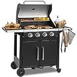 KLARSTEIN Tomahawk 4.0 T - Barbecue à gaz, 4 brûleurs en INOX, 4X 3,2 KW / 932 g/h, Allumage Piézo intégré, Répartition Unifo