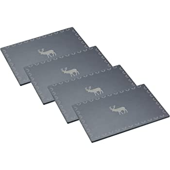 "KitchenCraft ""We Love Christmas"" Slate Placemats - Etched Reindeer Design (Set of 4)"