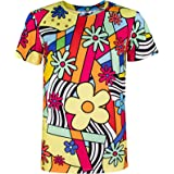 COSAVOROCK Costume Floral Rétro Années 60s 70s T-Shirts pour Homme