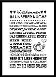 artissimo, Spruch-Bild gerahmt, 51x71cm, PE6002-ER, Willkommen in unserer Küche.., Bild, Wandbild mit Spruch, Spruch…