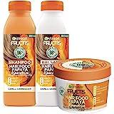 Garnier Fructis Hair Food Papaya Riparatrice, Kit con Shampoo, Balsamo e Maschera per Capelli Danneggiati, Fino al 98% di Ing