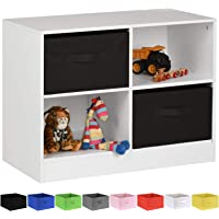 Hartleys White 4 Cube Kids Storage Unit & 2 Handled Box Drawers