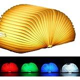 EasyULT Lampada Libro USB Ricaricabile, Lampada Led a Forma di Libro, 5 Colori Mutevoli, RGB Pieghevole in Legno Magnetico Lu