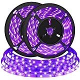 2M (2 Pack) UV LED Zwarte Lichtstrip, Bomcosy 4.5W Draagbare Zwarte UV Strip Verlichting, Paars LED strip voor Poster, Poster