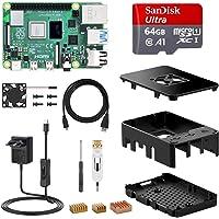 NinkBox Raspberry Pi 4 Modèle B, 4G RAM+64G Micro SD Carte, Starter Kit: Alimentation de 5V/3A avec Interrupteur, Ventilateur, Boîtier Noir, Dissipateur, Câble Micro HDMI. Raspberry Pi 3 b+ Amélioré