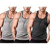 Cooofandy heren tanktops 3-delig pakket onderhemd heren gekamde fijne ripp spiershirts eenkleurig fitness ronde hals gym spor