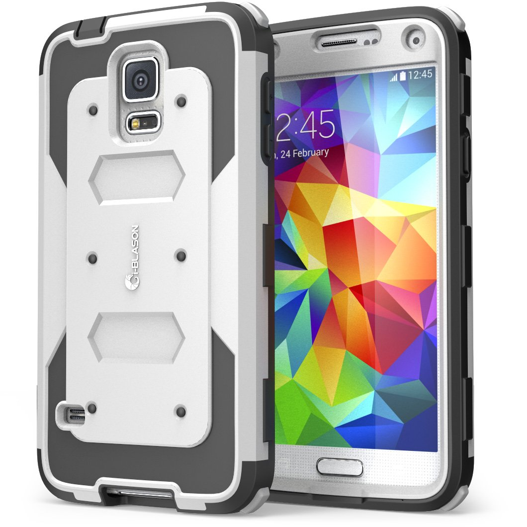 i-Blason Samsung Galaxy S5 Case - Armorbox Dual Layer Hybrid Full-body Protective Case with Front Cover and Built-in Screen Protector/Impact Resistant Bumpers