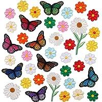 VEGCOO 39 Pezzi Toppe Termoadesive, Toppa Ricamata Termoadesiva Farfalla Fiore Toppe per Vestiti di Cucito - Toppe…