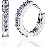 SWEETV orecchini a cerchio in argento sterling 925 per donne - Minuscoli orecchini a cerchio in argento con zirconi