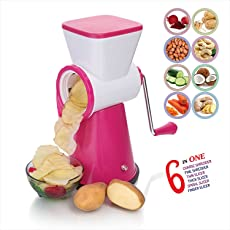 Olypex 6 in 1 Drum Grater Shredder Slicer for Vegetable, Fruits, Chocolate, Dry Fruits, Salad Maker with 4 Different Attractive Drums