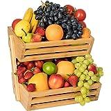 Bossjoy Support pour corbeille à fruits en bambou - rangement pour les légumes, les œufs et le pain - Pour plan de travail de