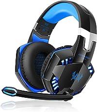 OCDAY Gaming Headset, Gaming Kopfhörer Noise Cancelling Kopfhörer Headset Kopfhörer mit Mikrofon 3,5 mm On Ear Surround Sound Ohrhörer und Lautstärkeregler für PS4 Xbox One PC Laptop Tablet