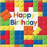 Unique Party- Servilletas de Papel, 16 Unidades, Color bloques de construcción (58232)