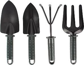HOKIPO 4 Piece Metal Trowel, Transplanter, Cultivator and Weeding Fork Gardening Tool Set