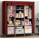 KriShyam® Collapsible Clothes Storage Wardrobe Cupboard Closet with Shelves Organizer Hanging Rail Rack Foldable Portable Can