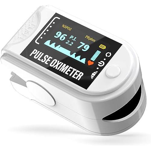 Eastronic Saturimetro Pulsossimetro Professionale - Certificato Medico CE. Controllo Frequenza Cardiaca (PR) Saturazione Ossigeno SpO2 Indice di Perfusione(PI)