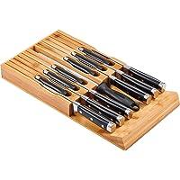 Utoplike Porte-Couteaux en Bambou pour Tiroir Pouvant Contenir 12 Couteaux et 1 Affiloir, 43.8 x 22.9 x 4.5 cm,Porte…
