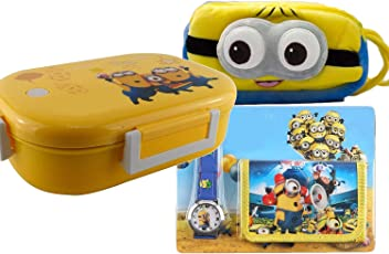 Grab Offers Gift hamper set for kid premium cartoon character printed super soft multipurpose cartoon pouch plus Lunch Box And With Free Gift Watch Wallet Set attractive designer and stylish perfect for gifting purpose return gift birthday gifts For Kids. (Boys Combo1 Yellow)