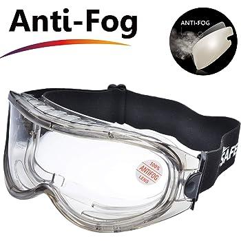 SAFEYEAR Occhiali Protettivi da Lavoro Antigraffio - SG007 Antiappannamento Occhiali  Protezione Antiappanno Trasparente Laboratorio Chimico e Antigraffio ... 280807d38cbb