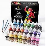 Castle Art Supplies 3D Fabric Paint set–24Premium vivaci colori grasso perfetto per abbigliamento, tela, vetro e legno–2