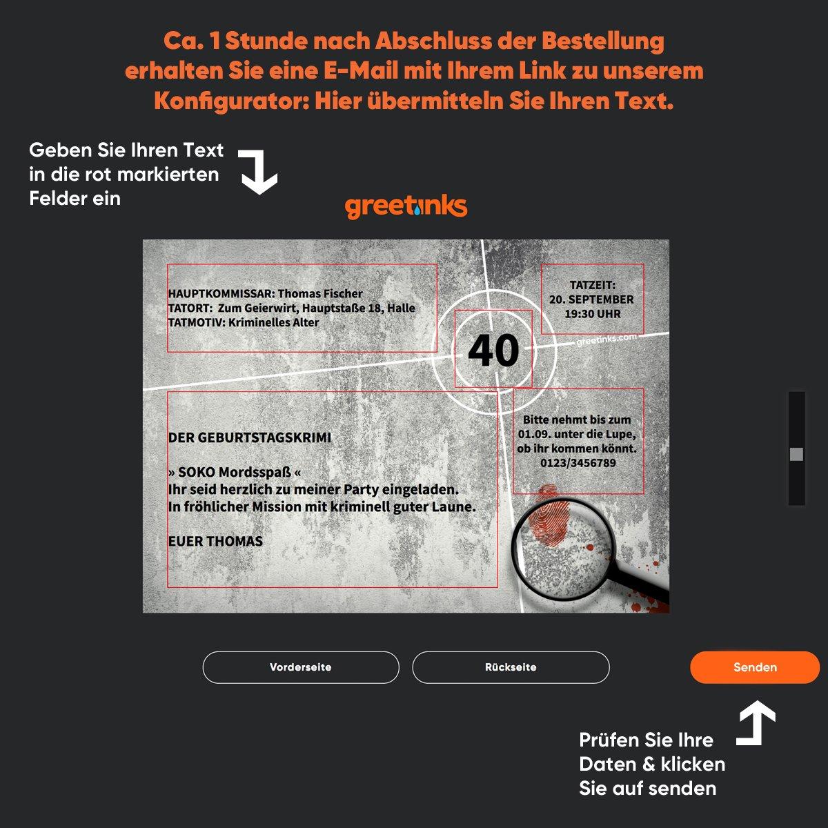 Einladungskarten zum Geburtstag Krimi gestalten | 48 Stück ... - Detektiv Geburtstag Einladungskarte