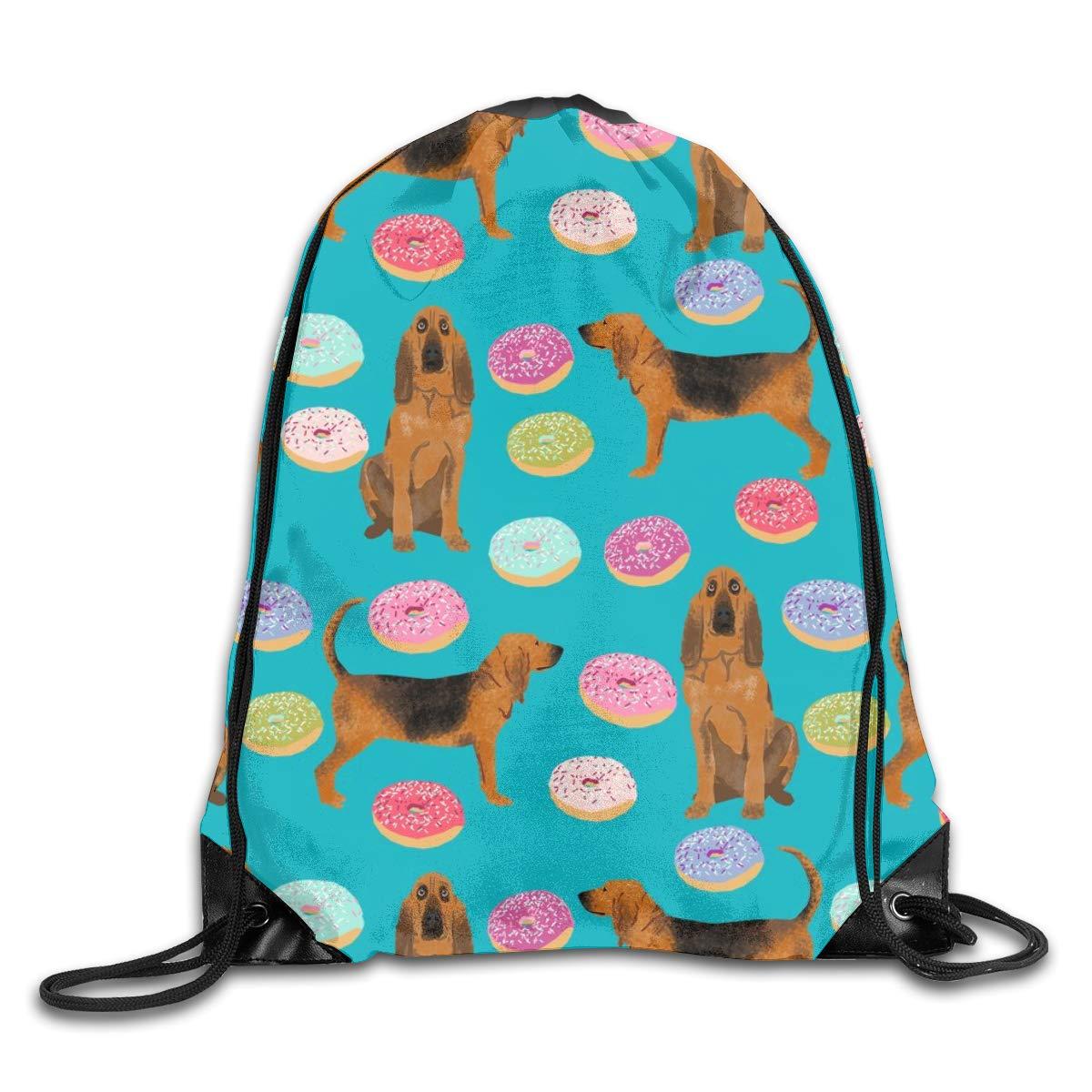 a2dc1c831a15 Bloodhound Dog Donuts Dog Donuts Bloodhound Dog Dog Pet Teal Drawstring Gym  Bag for Women and Men Polyester Gym Sack String Backpack for Sport ...