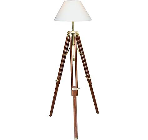 dasmöbelwerk Stehlampe Landhaus Leuchte Retro Lampenschirm Dreibein dimmbar E27