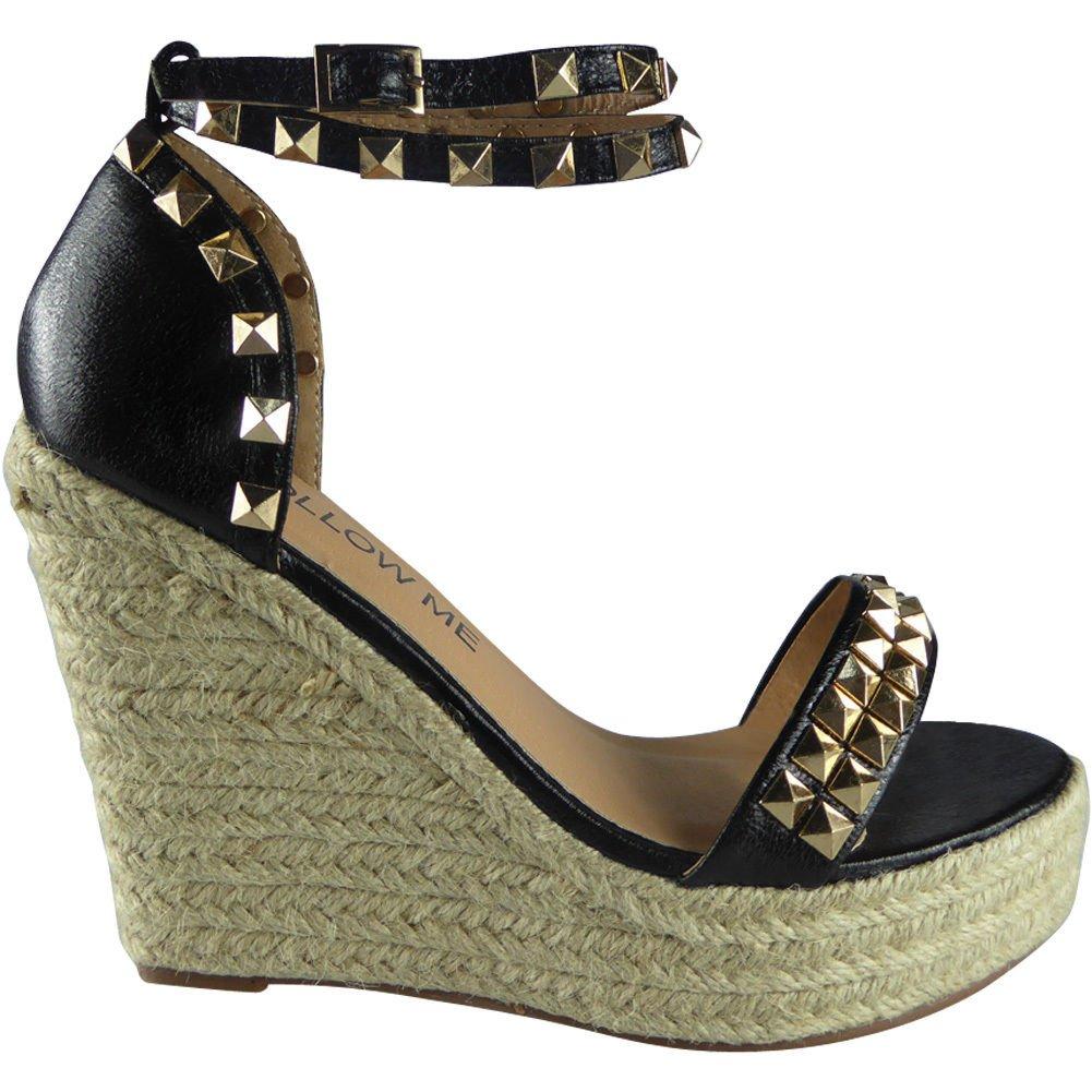 Womens Ankle Strap Studded Espadrilles Platform Wedge Sandals Size 3-8:  Amazon.co.uk: Shoes & Bags
