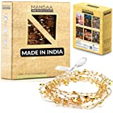 MANSAA USB Operated String Lights with Heart Bead Gold Chain, Warm White, 3 MTR 30 LED's, Pack of 1
