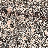 Stoffe Werning Baumwolljersey Hunde rosa-grau Modestoffe -