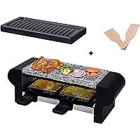 HASAYAKI Barbecue à raclette électrique 350 W pour 2 personnes avec plaque de pierre,plaque de cuisson antiadhésive,2…