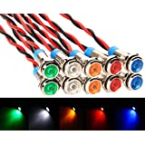 Gebildet 10 stuks 6 mm DC 12-24 V waterdichte kabel LED controlelampjes set (5 kleuren, rood/groen/oranje/wit/blauw)