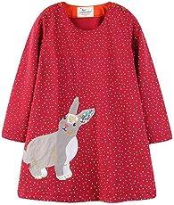 Mädchen Baumwolle Kleid Rundhalsausschnitt Langarm mit Applique Einteiler Knielange Kleider mit ärmel
